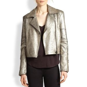 •J Brand• Aiah Metallic Leather Motorcycle Jacket